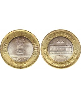 Inde 10 Rupees - bimetal - 125 years of national - 2016