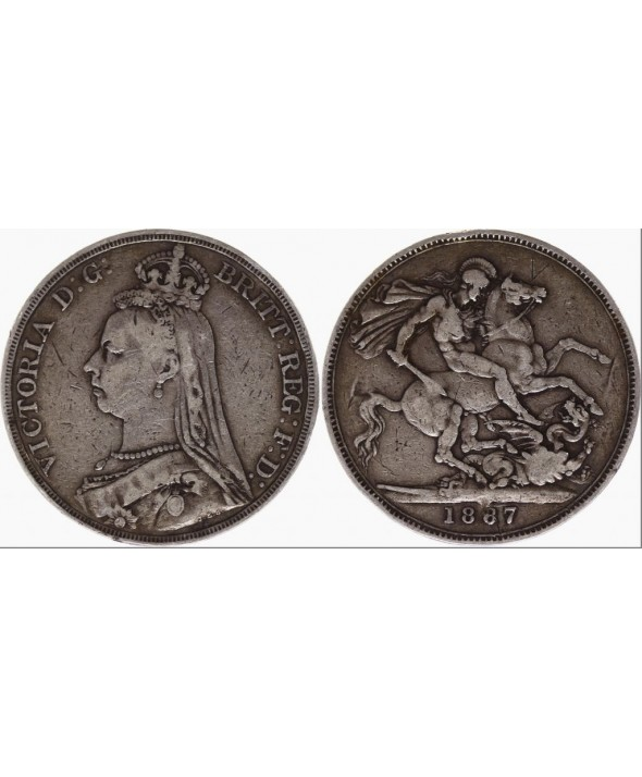 Royaume-Uni 1 Crown Victoria - St George et Dragon - 1887 Argent