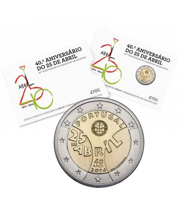 "2 Euros Commémorative BE - Portugal 2014 ""25 de Abril, la révolution des Œillets"""