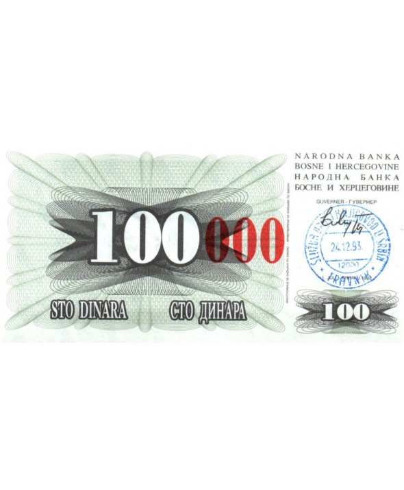 Bosnie-Herzégovine 100.000 Dinara - Armoiries - Travnik - 1993