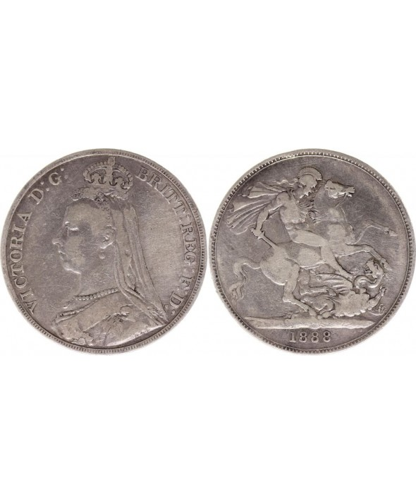 Royaume-Uni 1 Crown Victoria - St George et Dragon - 1888 Argent