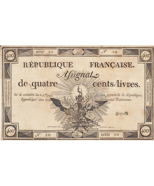 France 400 Livres 21 Septembre 1792 - Sign. Taupin - Faux