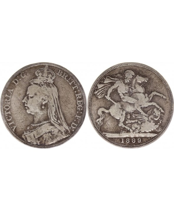 Royaume-Uni 1 Crown Victoria - St George et Dragon - 1889 Argent