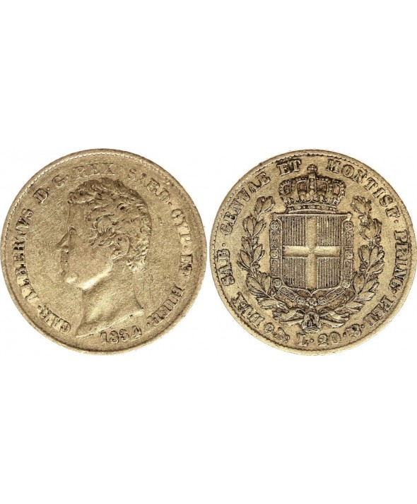 Sardaigne 20 Lire Or Charles-Albert - Armoiries 1834