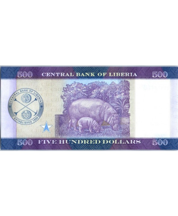 Liberia 500 Dollars, Personnages - Hippopotame - 2016