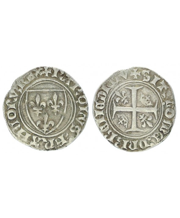 France  Blanc Guénar, Charles VI - ND (1380-1422) - Montpellier Point 4e