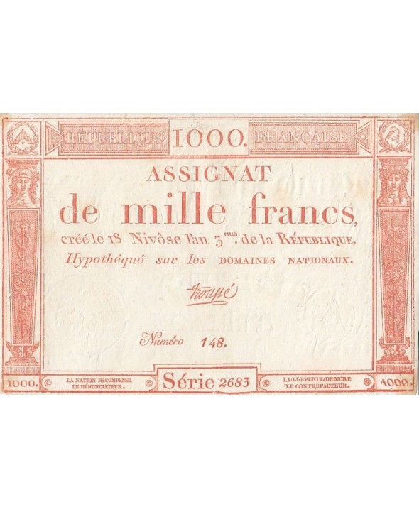France 1000 Francs 18 Nivose An III - 7.1.1795 - Sign. Troupe