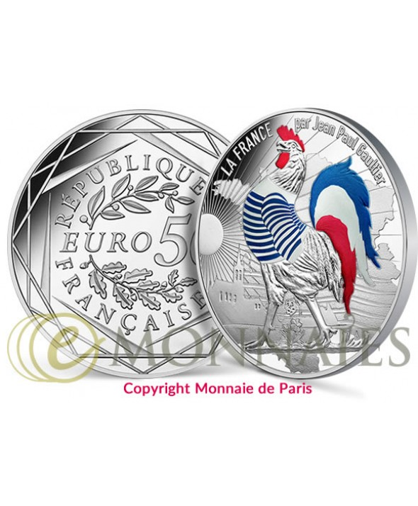 LA FRANCE PAR JEAN-PAUL GAULTIER (VAGUE 1), Coq Marinière - 50 Euros Argent COULEUR FRANCE 2017 (MDP)