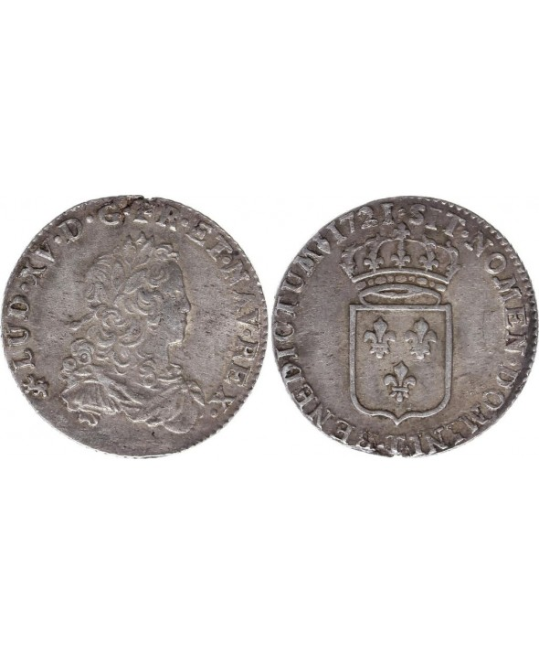 France 1/3 Ecu Louis XV - Armoiries 1721 T Nantes