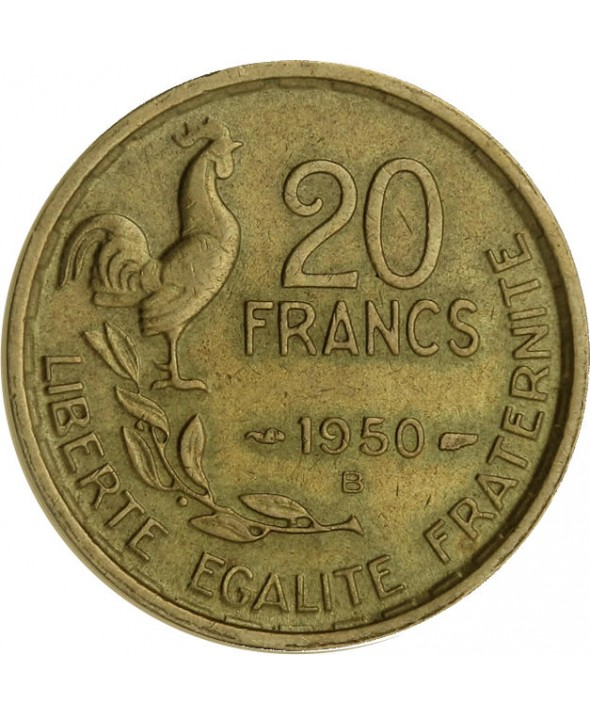 20 Francs - Type G. Guiraud - Queue à 4 plumes - France 1950 B (SUP)
