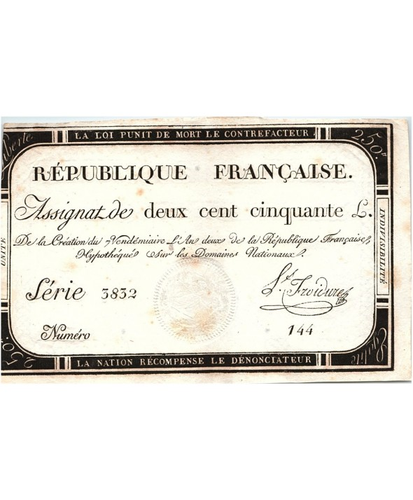 250 Livres, 7 Vendemiaire An II - 28.9.1793 - Ls Froidure