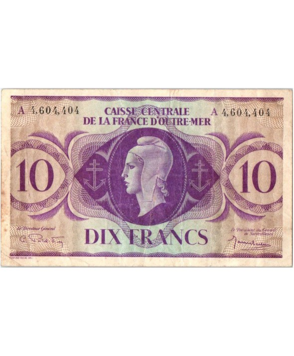 Guadeloupe 10 Francs Marianne - A. 4.604.404 - 1944