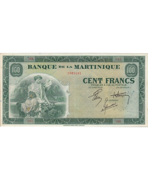 Martinique 100 Francs, Agriculture - 1942 Série J.64