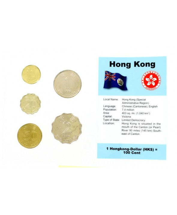 Blister 5 monnaies HONG KONG (10 cents à 2 dollars)