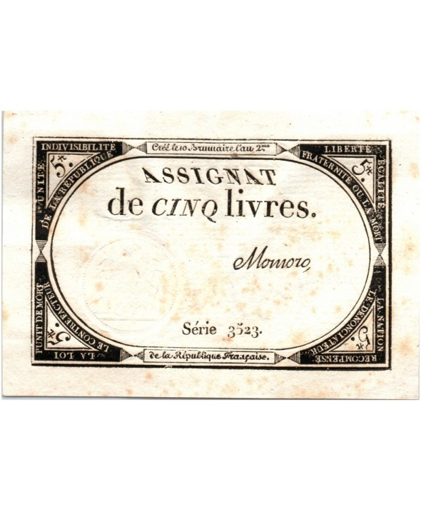 5 Livres, 10 Brumaire An II (31.10.1793) - Sign. Momoro
