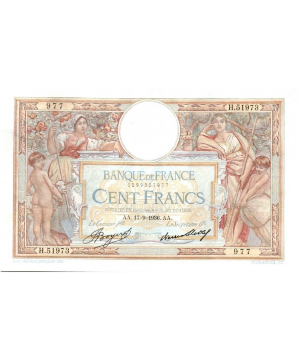 100 Francs, Luc Olivier Merson - Grands Cartouches - 1936