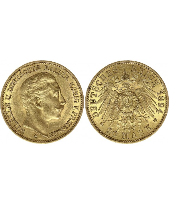 20 Mark Wilhelm II - Aigle Impériale 1894 A Berlin - Or