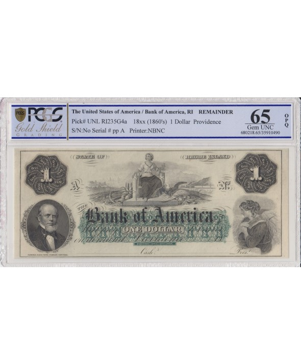 1 dollar, Bank of América, Providence - 1860 - Lettre A - PCGS 65 OPQ
