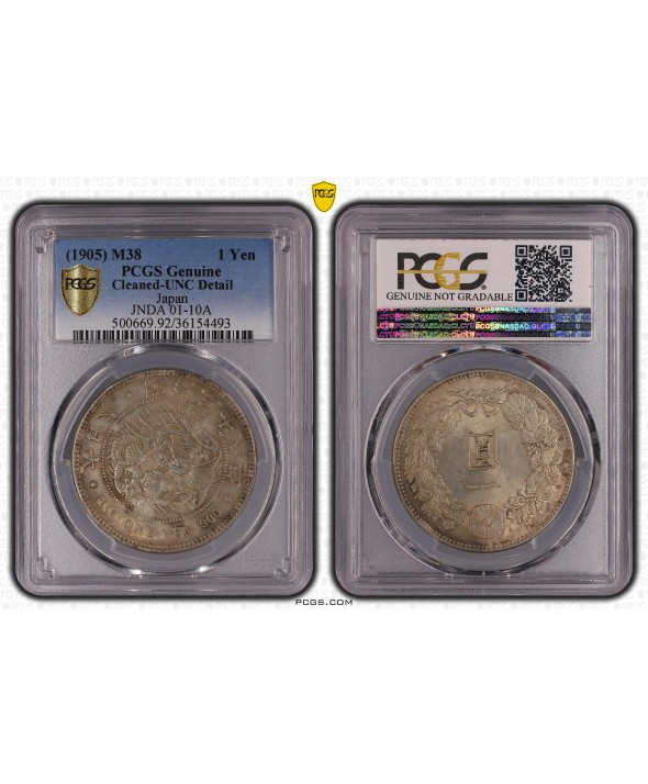1 Yen Dragon  - 1905 M38- PCGS Genuine