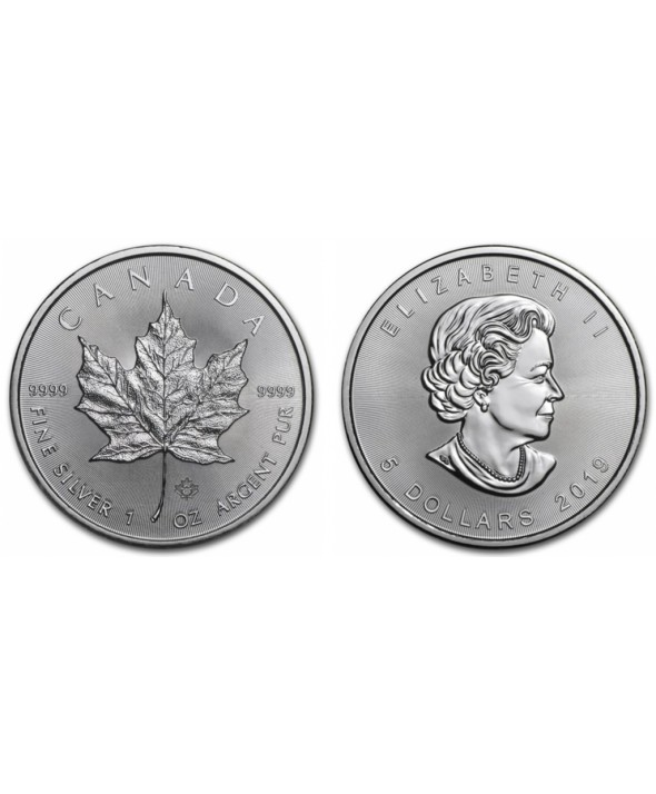 5 Dollars Elisabeth II - 1 Once Maple Leaf Argent 2019
