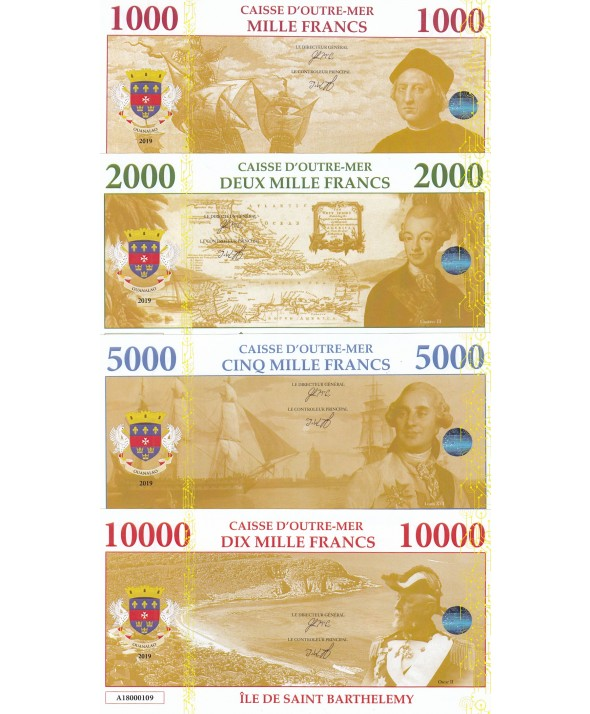 Lot 4 billets Fantaisies St Barthelemy - 1000 à 10000 Francs - 2019