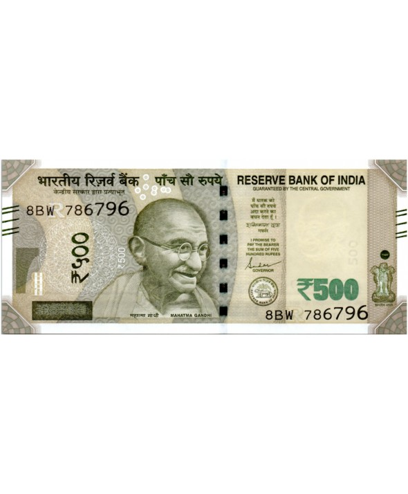 500 Rupees, Mahatma Gandhi - Red Fort 2019 Série 8BW
