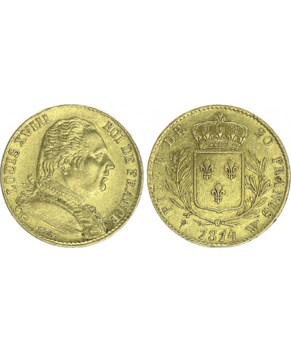 20 Francs Louis XVIII - 1814 W Lille - Or
