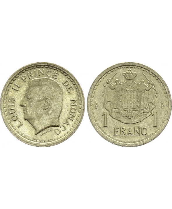 1 Franc Louis II - Armoiries - ND (1943) - SPL
