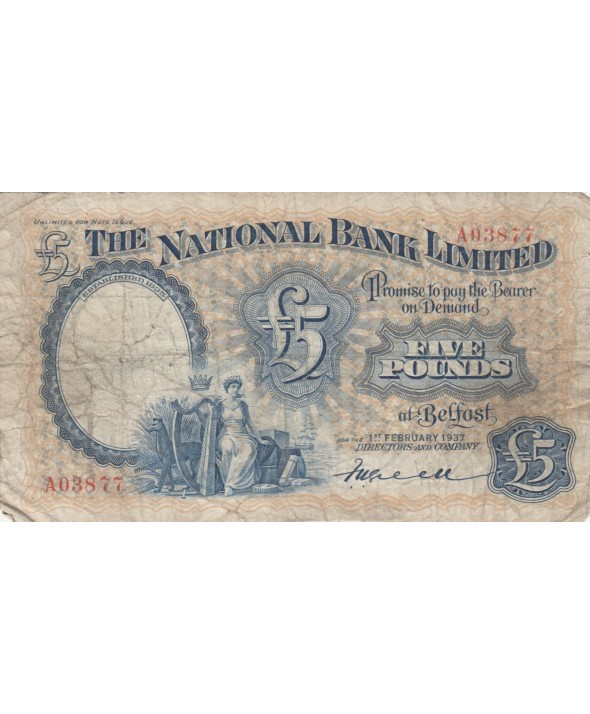 5 Pounds National Bank Limitd 1937 - p.TB - P156 a
