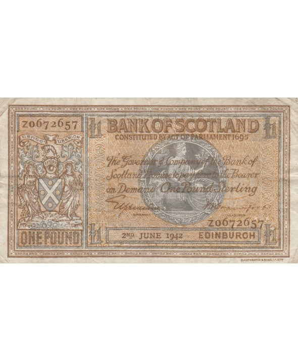 1 Pound Bank of Scotland - 1942 - p.TTB - P.91c