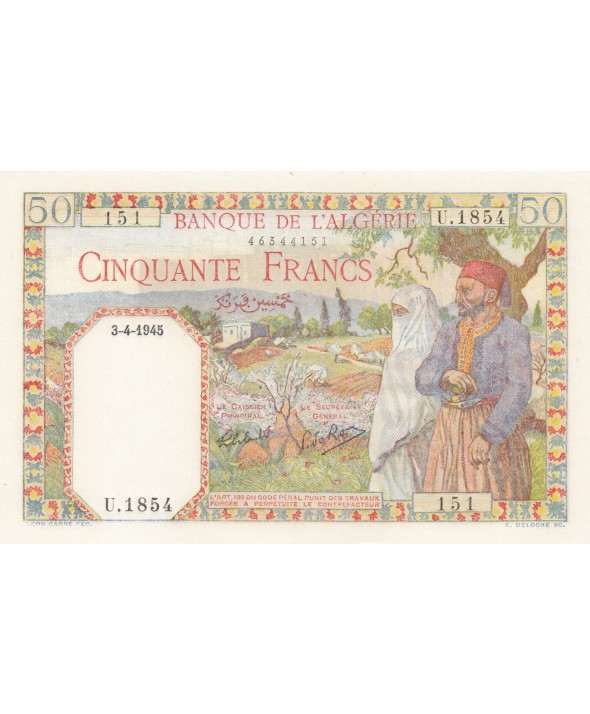 50 Francs Couple - 03-04-1945 - Série U.1854