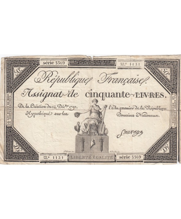 50 Livres France assise - 14-12-1792 - Sign. Sauvage