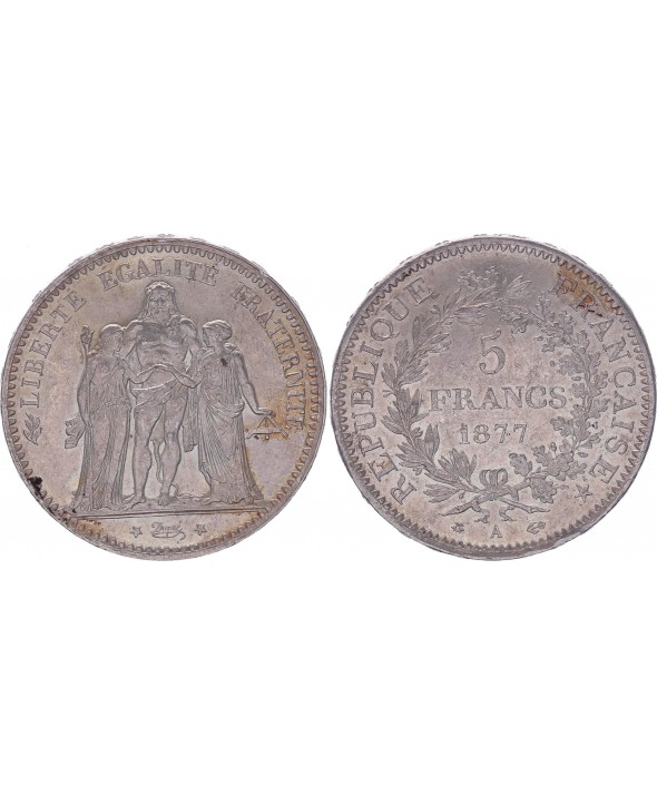 5 Francs Hercule - IIIeme République - 1877 A Paris - SUP