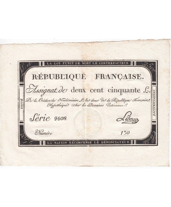 250 Livres 7 Vendemiaire An II - 28.9.1793 - Sign.  Libourd - SUP