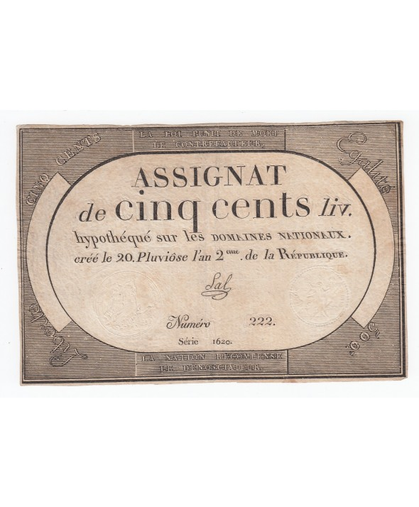 500 Livres 20 Pluviose An II (8.2.1794) - Sign. Sal
