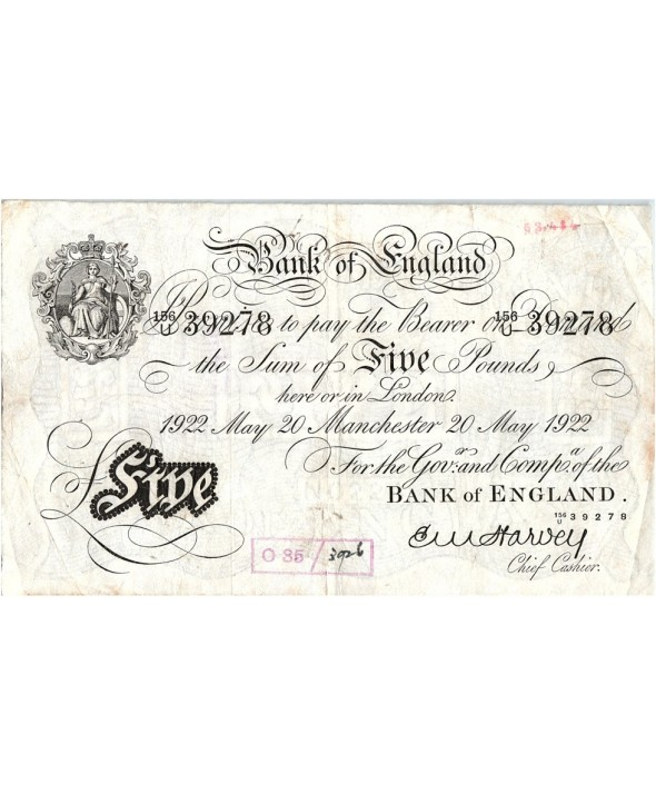5 Pounds, Impr. noire - Manchester 1922 - Sig Harvey