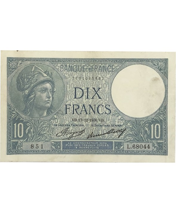 10 Francs 1936 France - Minerve type 1915