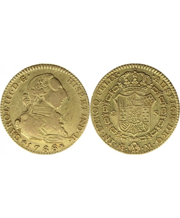 2 Escudos, Charles III - Armoiries 1788 M Madrid