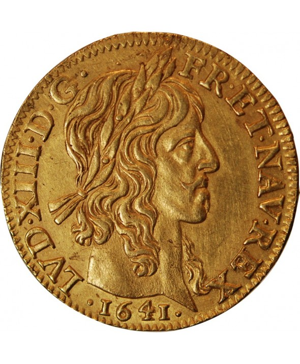 LOUIS XIII - LOUIS D'OR A LA MECHE LONGUE 1641 A PARIS