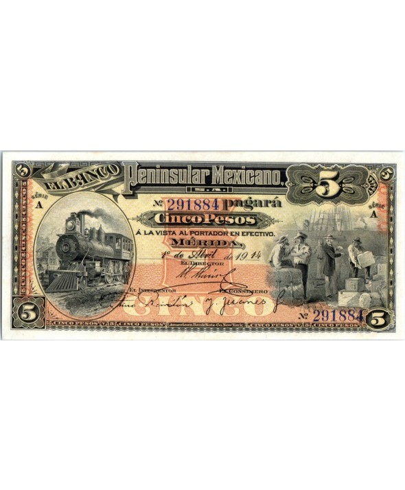 5 Pesos Locomotive, dockers - 1914