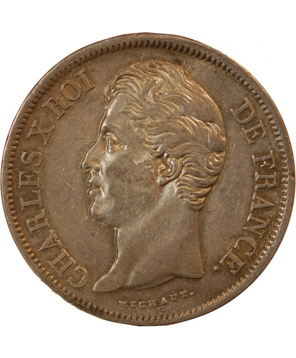 """CHARLES X - 5 FRANCS ARGENT 1828 W LILLE """"2e Type"""""""