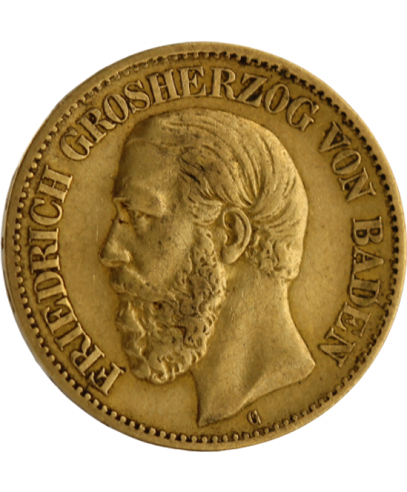 10 Mark OR 1873 Allemagne - Frédéric I Grand Duc de Bade (G Karlsruhe)