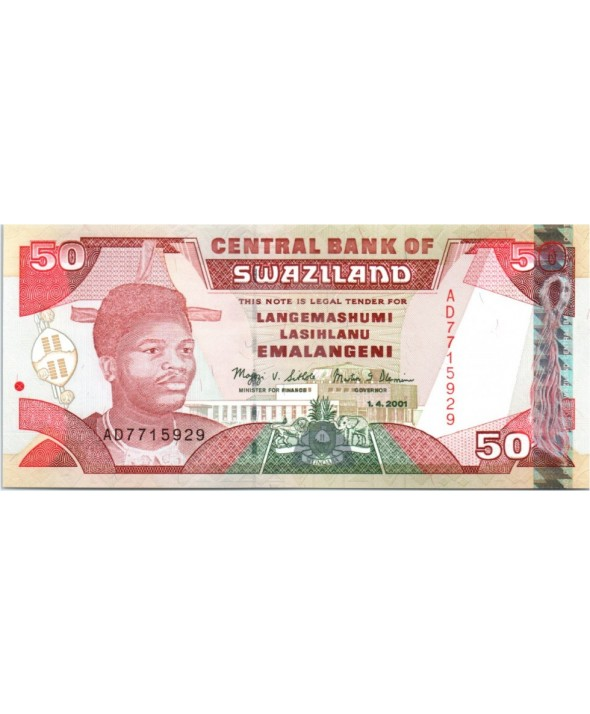 Swaziland 50 Emalangeni, Roi Mswati III - Banque Centrale - 2001