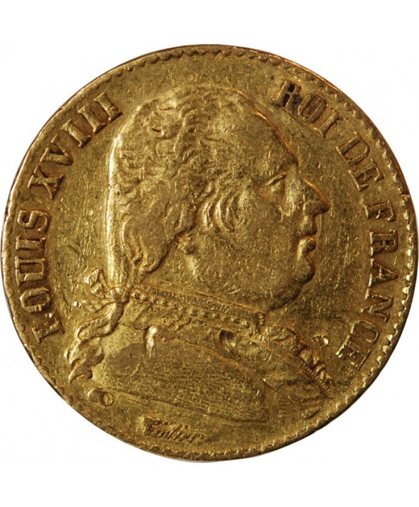 LOUIS XVIII - 20 FRANCS OR 1814 L BAYONNE