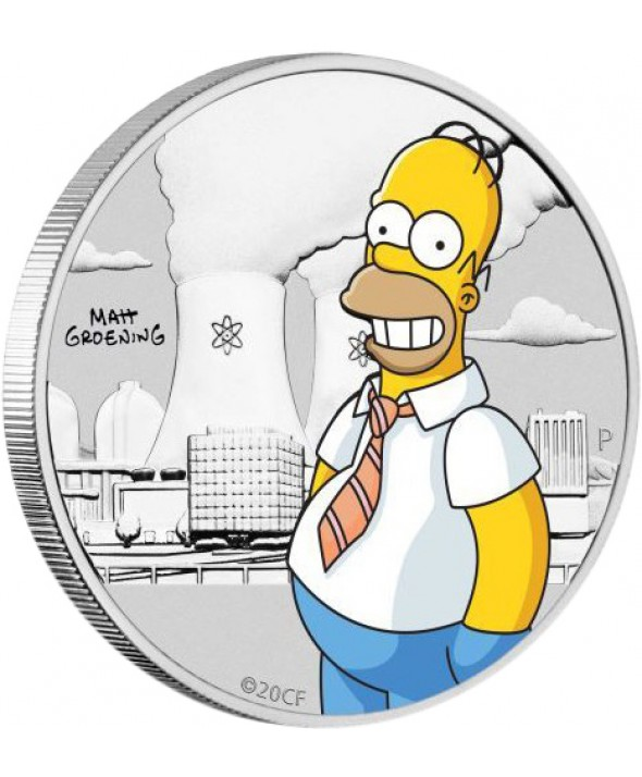 Homer Simpson - 1/2 Once Argent Couleur TUVALU 2020
