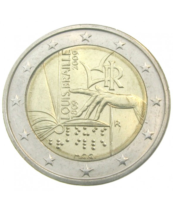 2 Euros Commémo. ITALIE 2009 - Louis Braille