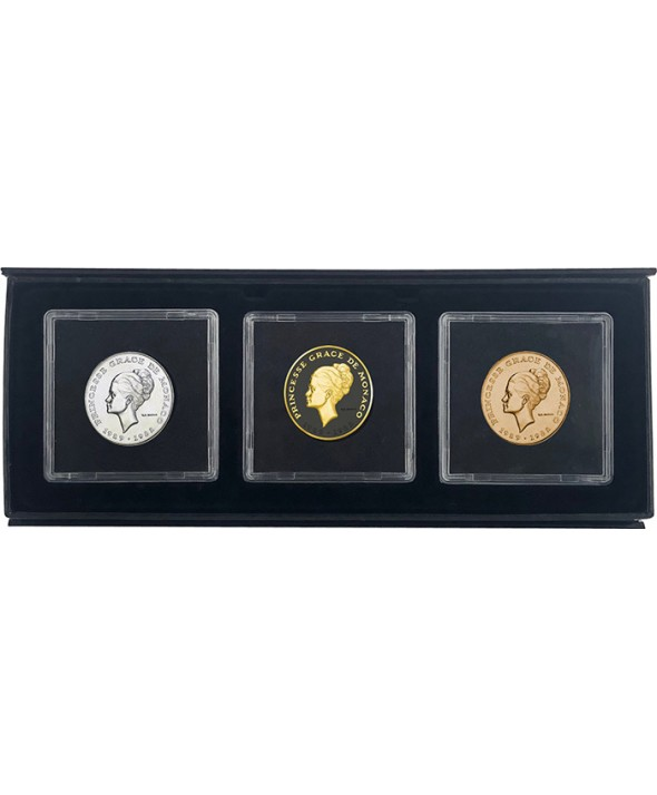 Coffret Trio de 10 Francs MONACO 1982 - Princesse Grace (dont Essai Argent, Circulation et application Ruthénium & Or)