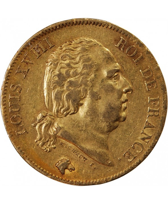 LOUIS XVIII - 40 FRANCS OR 1818 W LILLE