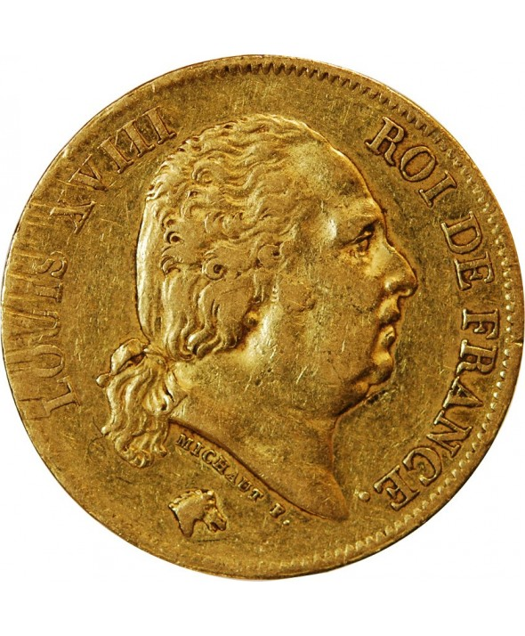 LOUIS XVIII - 40 FRANCS OR 1819 W LILLE