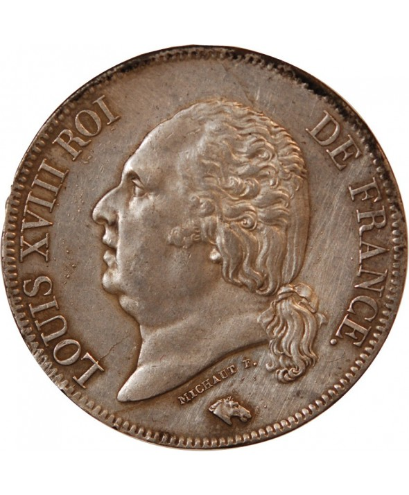 LOUIS XVIII - 5 FRANCS ARGENT 1824 A PARIS